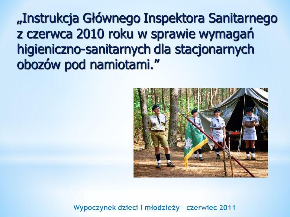 Wypoczynek dzieci i młodzieży – czerwiec 2011 Instrukcja Głównego Inspektora Sanitarnego z czerwca 2010 roku w sprawie wymagań higieniczno-sanitarnych
