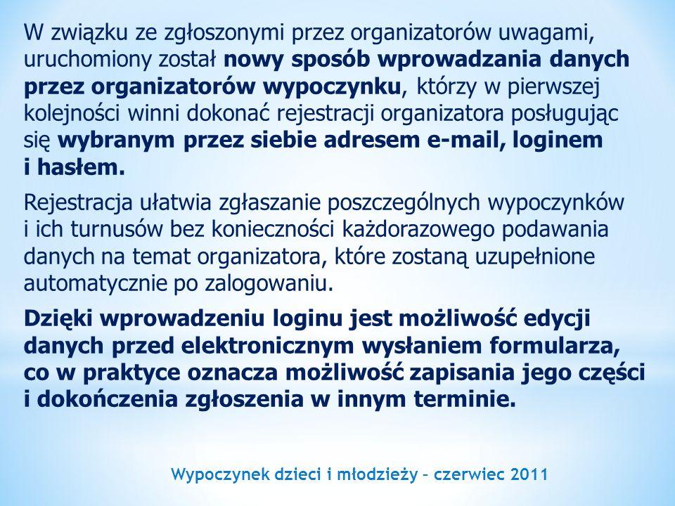 Wypoczynek dzieci i młodzieży – czerwiec 2011 W związku ze zgłoszonymi przez organizatorów uwagami, uruchomiony został nowy sposób wprowadzania danych