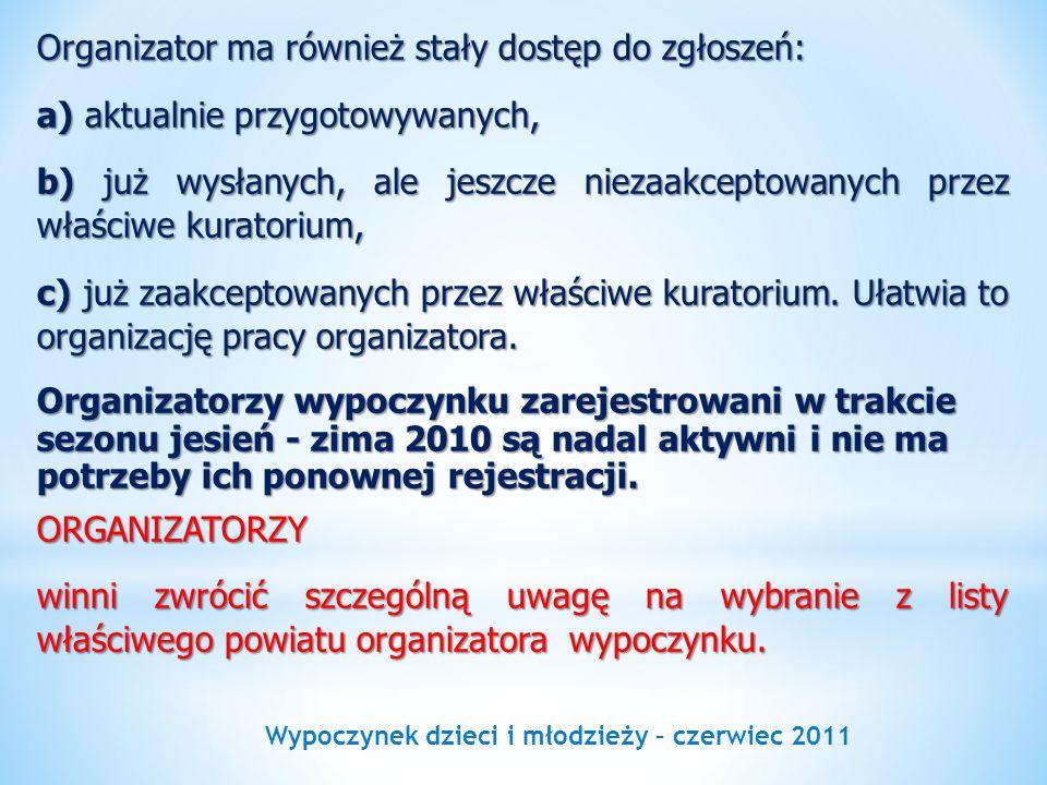 Wypoczynek dzieci i młodzieży – czerwiec 2011 Organizator ma również stały dostęp do zgłoszeń: a) aktualnie przygotowywanych, b) już wysłanych, ale je