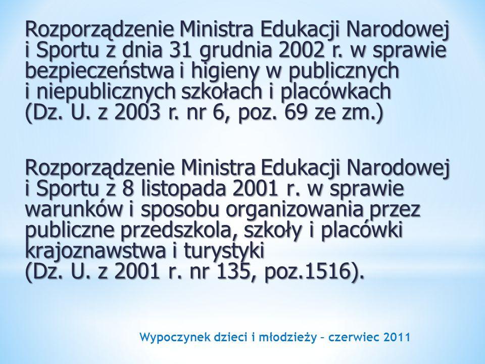Wypoczynek dzieci i młodzieży – czerwiec 2011 Rozporządzenie Ministra Edukacji Narodowej i Sportu z dnia 31 grudnia 2002 r. w sprawie bezpieczeństwa i