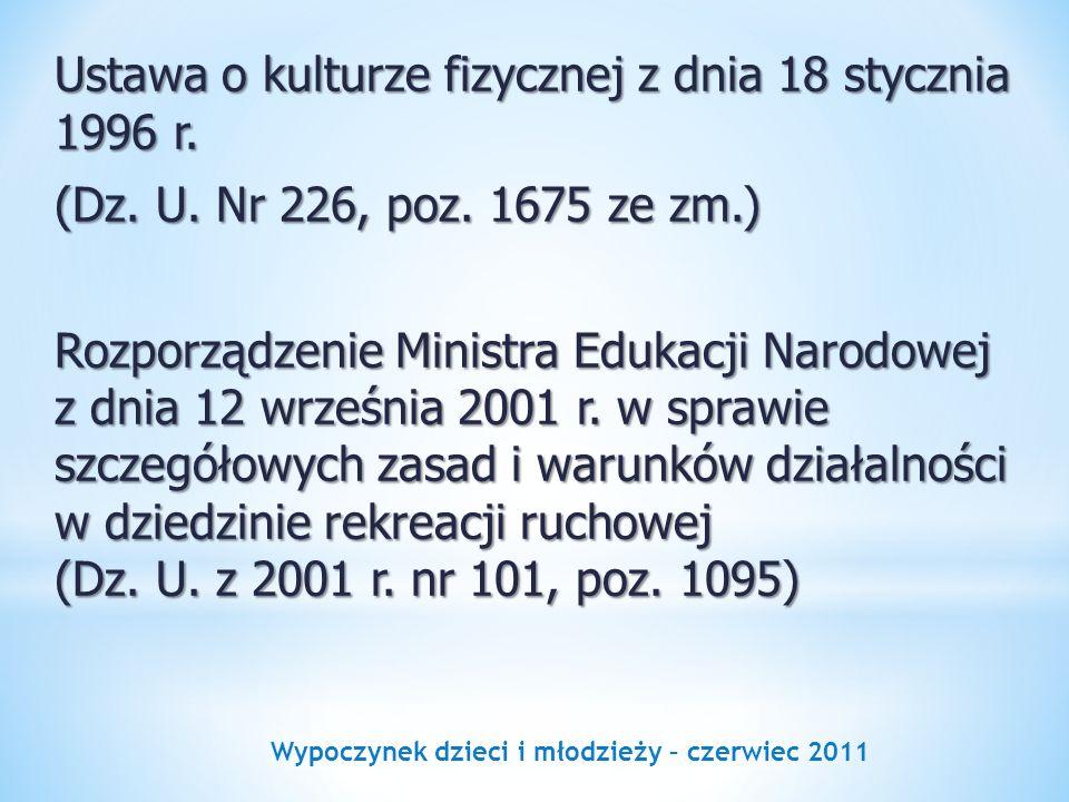 Wypoczynek dzieci i młodzieży – czerwiec 2011 Ustawa o kulturze fizycznej z dnia 18 stycznia 1996 r. (Dz. U. Nr 226, poz. 1675 ze zm.) Rozporządzenie