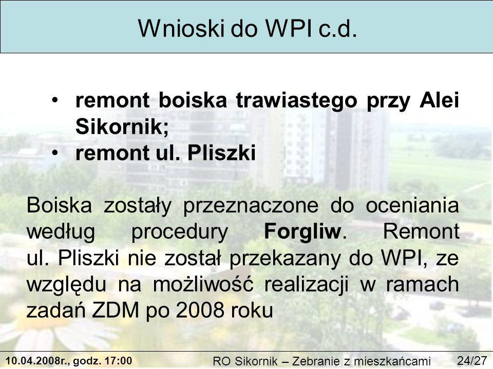 10.04.2008r., godz. 17:00 RO Sikornik – Zebranie z mieszkańcami 24/27 Wnioski do WPI c.d.