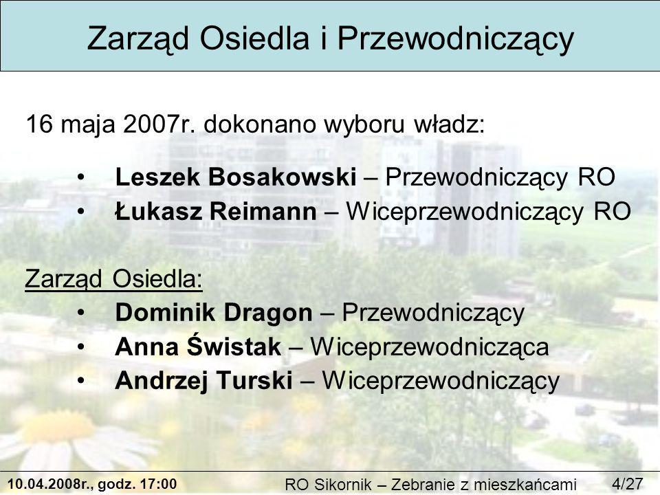 10.04.2008r., godz. 17:00 RO Sikornik – Zebranie z mieszkańcami 4/27 16 maja 2007r.