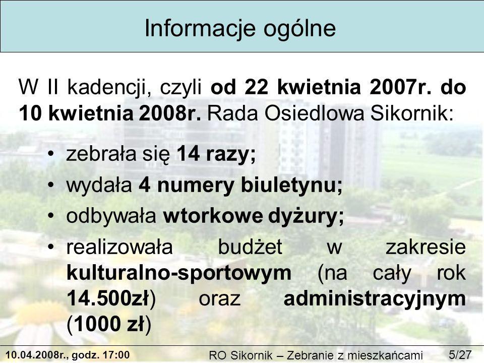 10.04.2008r., godz.17:00 RO Sikornik – Zebranie z mieszkańcami 26/27 Bieżąca działalność c.d.