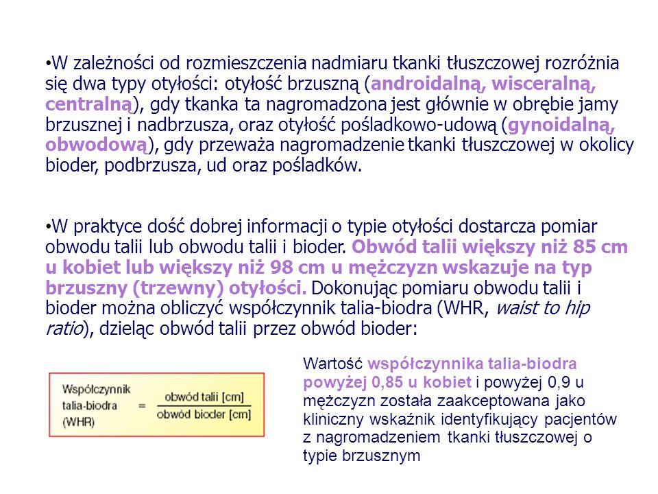 KLASYFIKACJA OTYŁOŚCI wg WHO Prawidłowy wskaźnik masy ciała- 18,5- 24,99 Otyłość I stopnia - 30,0- 34,9 Otyłość II stopnia- 35,0- 39,9 Otyłość III stopnia (morbid obesity)- 40,0 BMI (kg/m2)