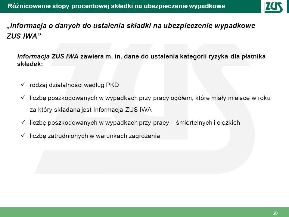 20 Różnicowanie stopy procentowej składki na ubezpieczenie wypadkowe Informacja o danych do ustalenia składki na ubezpieczenie wypadkowe ZUS IWA Infor