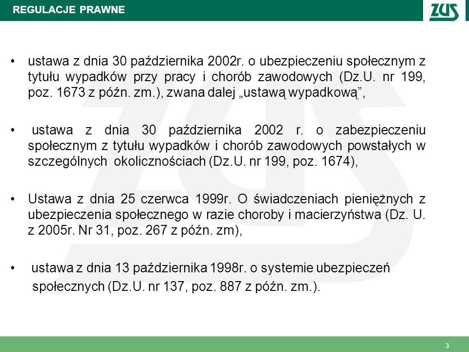 3 REGULACJE PRAWNE ustawa z dnia 30 października 2002r. o ubezpieczeniu społecznym z tytułu wypadków przy pracy i chorób zawodowych (Dz.U. nr 199, poz