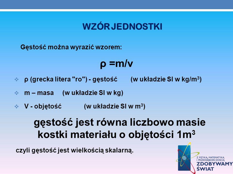 WZÓR JEDNOSTKI Gęstość można wyrazić wzorem: ρ =m/v ρ (grecka litera