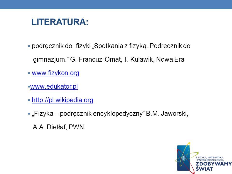 LITERATURA: podręcznik do fizyki Spotkania z fizyką.