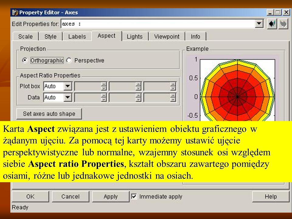 Karta Aspect związana jest z ustawieniem obiektu graficznego w żądanym ujęciu. Za pomocą tej karty możemy ustawić ujęcie perspektywistyczne lub normal