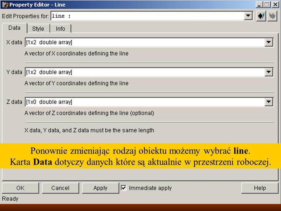 Ponownie zmieniając rodzaj obiektu możemy wybrać line. Karta Data dotyczy danych które są aktualnie w przestrzeni roboczej.