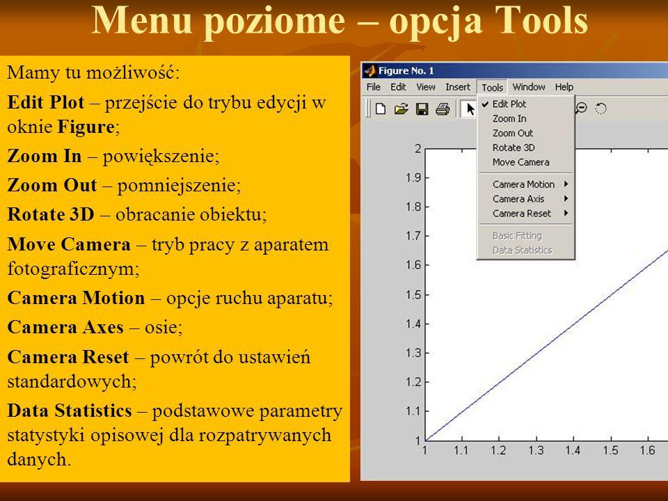 Menu poziome – opcja Tools Mamy tu możliwość: Edit Plot – przejście do trybu edycji w oknie Figure; Zoom In – powiększenie; Zoom Out – pomniejszenie;