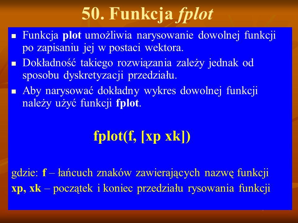 50. Funkcja fplot Funkcja plot umożliwia narysowanie dowolnej funkcji po zapisaniu jej w postaci wektora. Dokładność takiego rozwiązania zależy jednak