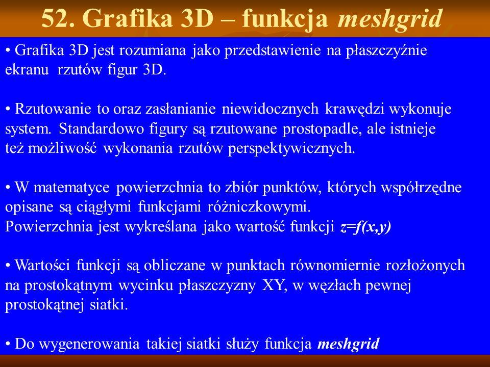 52. Grafika 3D – funkcja meshgrid Grafika 3D jest rozumiana jako przedstawienie na płaszczyźnie ekranu rzutów figur 3D. Rzutowanie to oraz zasłanianie