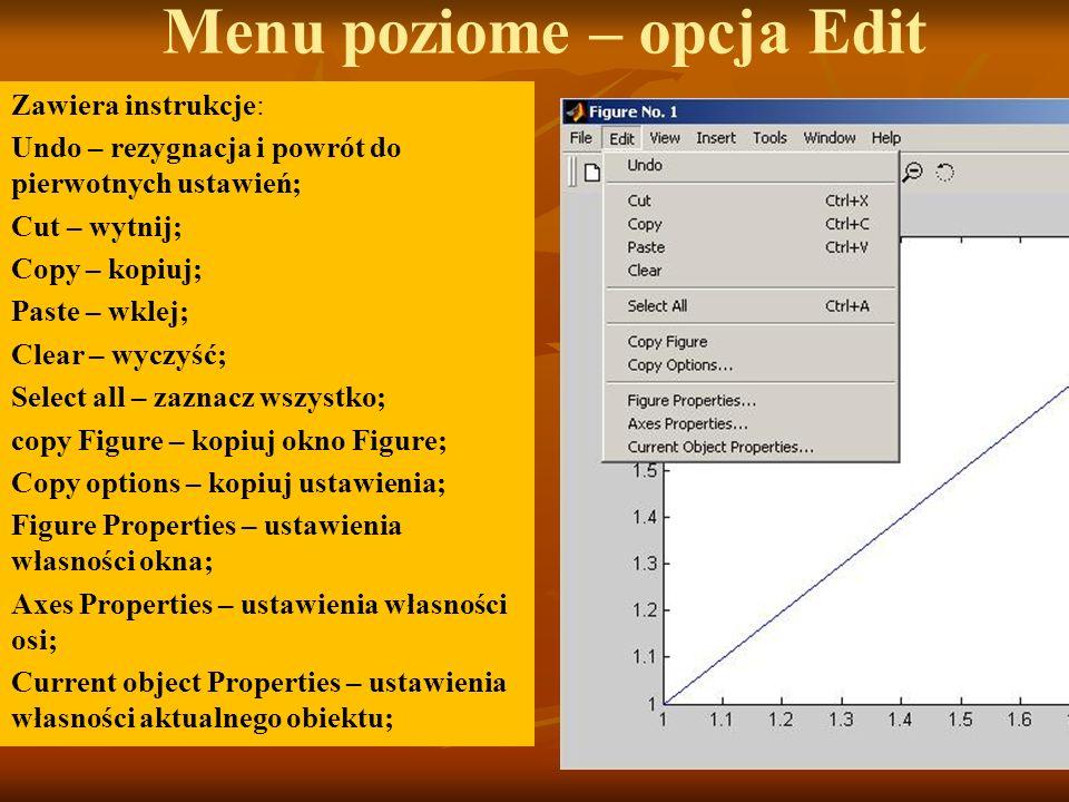 Menu poziome – opcja Edit Zawiera instrukcje: Undo – rezygnacja i powrót do pierwotnych ustawień; Cut – wytnij; Copy – kopiuj; Paste – wklej; Clear –