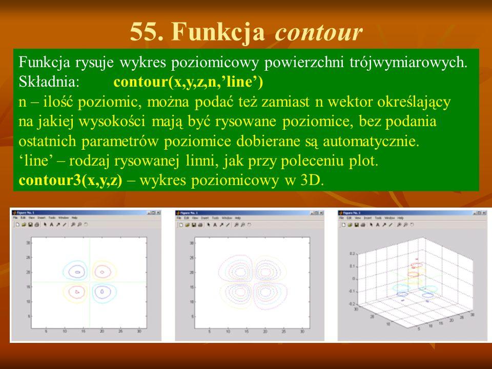 55. Funkcja contour Funkcja rysuje wykres poziomicowy powierzchni trójwymiarowych. Składnia: contour(x,y,z,n,line) n – ilość poziomic, można podać też