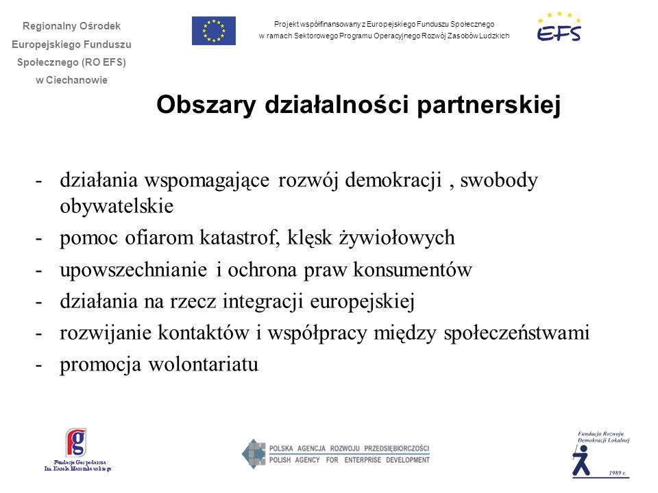 Projekt współfinansowany z Europejskiego Funduszu Społecznego w ramach Sektorowego Programu Operacyjnego Rozwój Zasobów Ludzkich Regionalny Ośrodek Europejskiego Funduszu Społecznego (RO EFS) w Ciechanowie Obszary działalności partnerskiej -działania wspomagające rozwój demokracji, swobody obywatelskie -pomoc ofiarom katastrof, klęsk żywiołowych -upowszechnianie i ochrona praw konsumentów -działania na rzecz integracji europejskiej -rozwijanie kontaktów i współpracy między społeczeństwami -promocja wolontariatu