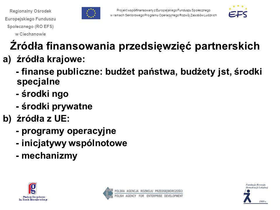 Projekt współfinansowany z Europejskiego Funduszu Społecznego w ramach Sektorowego Programu Operacyjnego Rozwój Zasobów Ludzkich Regionalny Ośrodek Europejskiego Funduszu Społecznego (RO EFS) w Ciechanowie Źródła finansowania przedsięwzięć partnerskich a)źródła krajowe: - finanse publiczne: budżet państwa, budżety jst, środki specjalne - środki ngo - środki prywatne b) źródła z UE: - programy operacyjne - inicjatywy wspólnotowe - mechanizmy