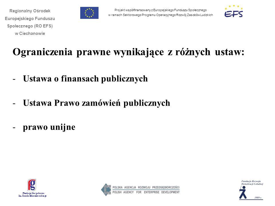 Projekt współfinansowany z Europejskiego Funduszu Społecznego w ramach Sektorowego Programu Operacyjnego Rozwój Zasobów Ludzkich Regionalny Ośrodek Europejskiego Funduszu Społecznego (RO EFS) w Ciechanowie Ograniczenia prawne wynikające z różnych ustaw: -Ustawa o finansach publicznych -Ustawa Prawo zamówień publicznych -prawo unijne