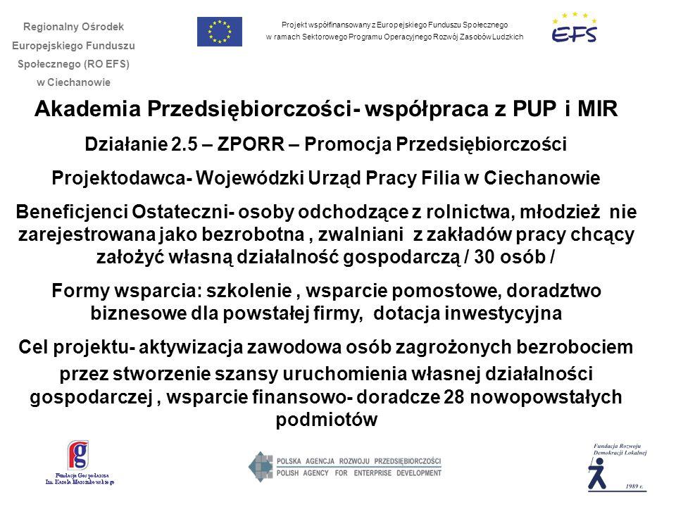 Projekt współfinansowany z Europejskiego Funduszu Społecznego w ramach Sektorowego Programu Operacyjnego Rozwój Zasobów Ludzkich Regionalny Ośrodek Europejskiego Funduszu Społecznego (RO EFS) w Ciechanowie Akademia Przedsiębiorczości- współpraca z PUP i MIR Działanie 2.5 – ZPORR – Promocja Przedsiębiorczości Projektodawca- Wojewódzki Urząd Pracy Filia w Ciechanowie Beneficjenci Ostateczni- osoby odchodzące z rolnictwa, młodzież nie zarejestrowana jako bezrobotna, zwalniani z zakładów pracy chcący założyć własną działalność gospodarczą / 30 osób / Formy wsparcia: szkolenie, wsparcie pomostowe, doradztwo biznesowe dla powstałej firmy, dotacja inwestycyjna Cel projektu- aktywizacja zawodowa osób zagrożonych bezrobociem przez stworzenie szansy uruchomienia własnej działalności gospodarczej, wsparcie finansowo- doradcze 28 nowopowstałych podmiotów