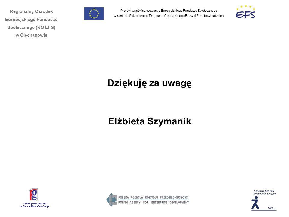Projekt współfinansowany z Europejskiego Funduszu Społecznego w ramach Sektorowego Programu Operacyjnego Rozwój Zasobów Ludzkich Regionalny Ośrodek Europejskiego Funduszu Społecznego (RO EFS) w Ciechanowie Dziękuję za uwagę Elżbieta Szymanik
