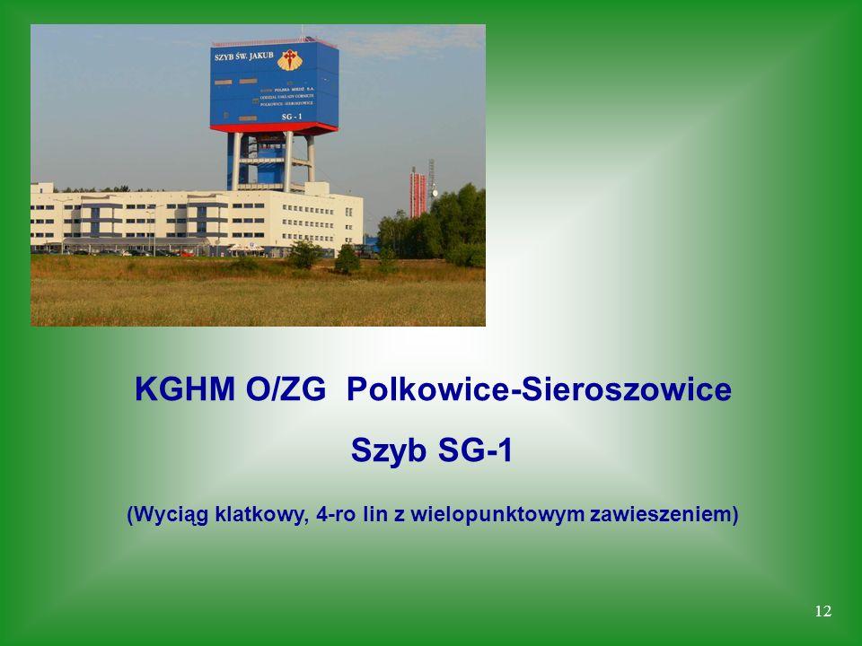 12 KGHM O/ZG Polkowice-Sieroszowice Szyb SG-1 (Wyciąg klatkowy, 4-ro lin z wielopunktowym zawieszeniem)