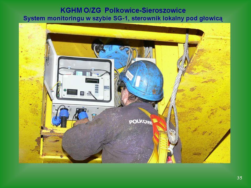 35 KGHM O/ZG Polkowice-Sieroszowice System monitoringu w szybie SG-1, sterownik lokalny pod głowicą