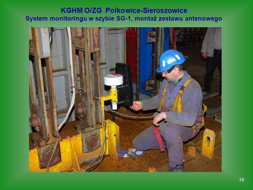38 KGHM O/ZG Polkowice-Sieroszowice System monitoringu w szybie SG-1, montaż zestawu antenowego