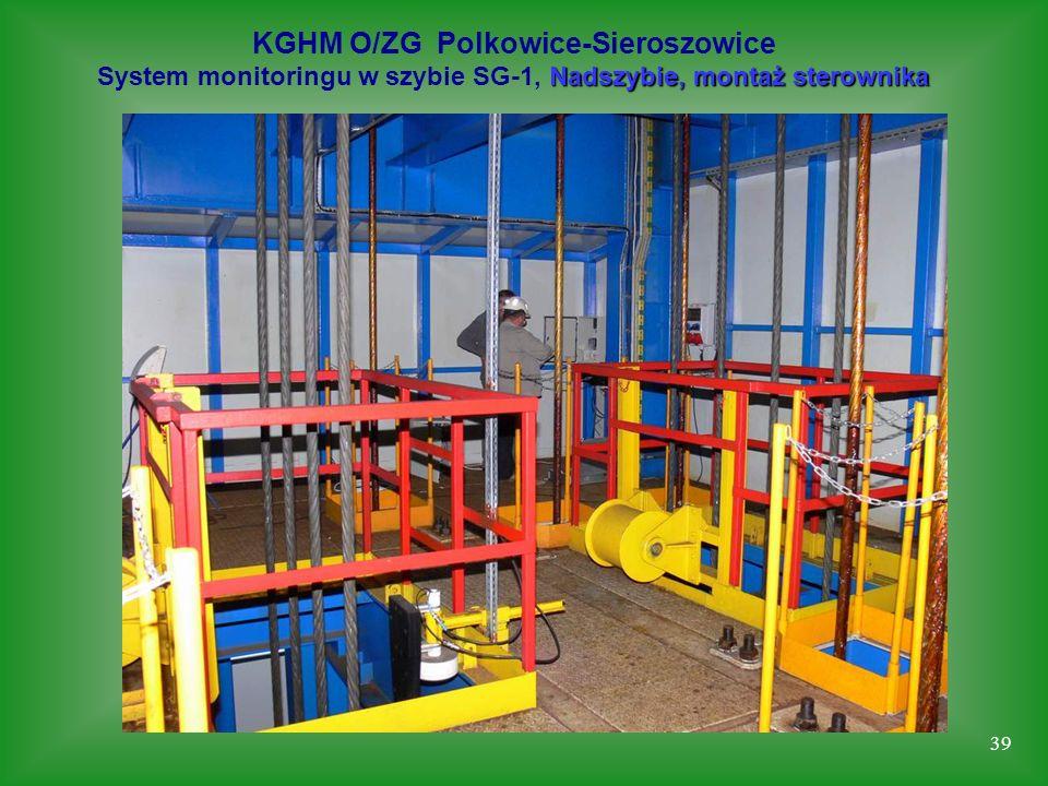39 KGHM O/ZG Polkowice-Sieroszowice Nadszybie, montaż sterownika System monitoringu w szybie SG-1, Nadszybie, montaż sterownika