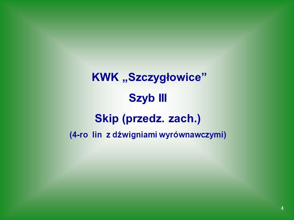 4 KWK Szczygłowice Szyb III Skip (przedz. zach.) (4-ro lin z dźwigniami wyrównawczymi)