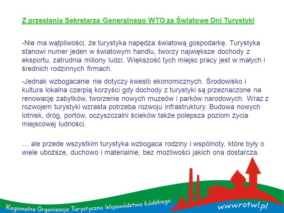 Najważniejsze dokumenty, na których można się opierać: 1.Marketingowa Strategia Polski w sektorze turystyki na lata 2008-2015 2.Plan Działań Polskiej Organizacji Turystycznej na 2010-2011 www.pot.gov.pl/plany -i-sprawozdania-pot/ www.pot.gov.pl/plany -i-sprawozdania-pot/ 3.Kodeks Dobrych Praktyk Zarządzania Turystyką – POT-ROT-LOT 4.Program Rozwoju Turystyki w Województwie Łódzkim na lata 2007-2020 5.Badania Ruchu Turystycznego w Województwie Łódzkim w 2009 roku 6.Plan Działań Regionalnej Organizacji Turystycznej Województwa Łódzkiego www.rotwl.pl/raporty,44,0,0.htmlwww.rotwl.pl/raporty,44,0,0.html