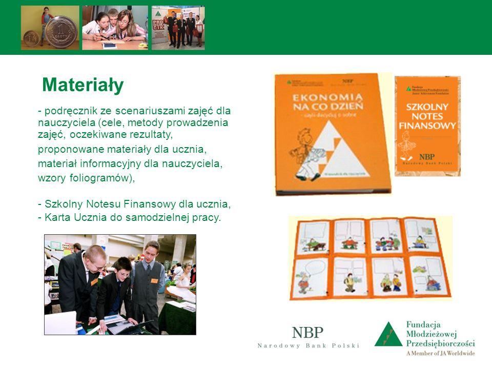 - podręcznik ze scenariuszami zajęć dla nauczyciela (cele, metody prowadzenia zajęć, oczekiwane rezultaty, proponowane materiały dla ucznia, materiał