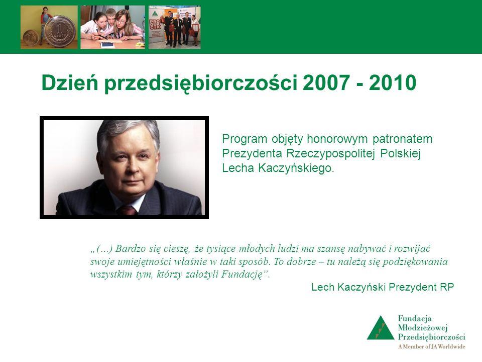 Program objęty honorowym patronatem Prezydenta Rzeczypospolitej Polskiej Lecha Kaczyńskiego. (…) Bardzo się cieszę, że tysiące młodych ludzi ma szansę