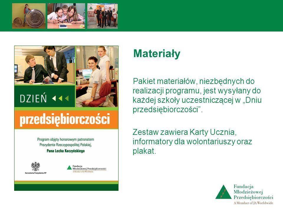 Pakiet materiałów, niezbędnych do realizacji programu, jest wysyłany do każdej szkoły uczestniczącej w Dniu przedsiębiorczości. Zestaw zawiera Karty U