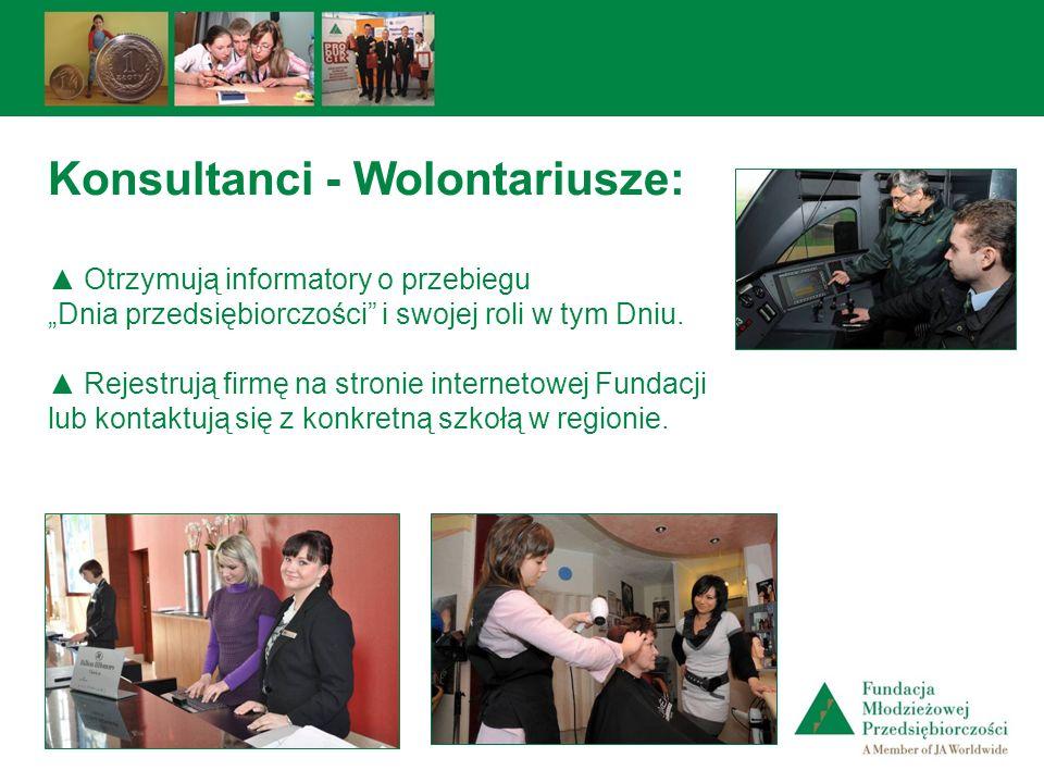 Konsultanci - Wolontariusze: Otrzymują informatory o przebiegu Dnia przedsiębiorczości i swojej roli w tym Dniu. Rejestrują firmę na stronie interneto