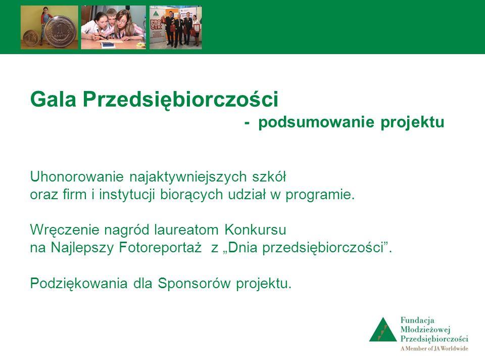 Gala Przedsiębiorczości - podsumowanie projektu Uhonorowanie najaktywniejszych szkół oraz firm i instytucji biorących udział w programie. Wręczenie na