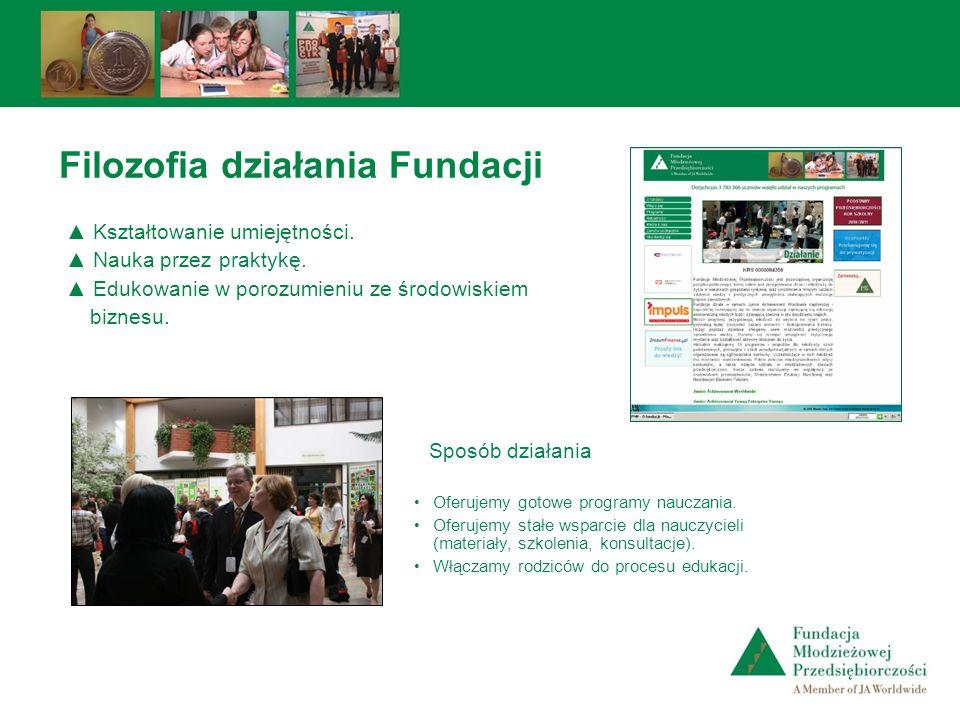 Filozofia działania Fundacji Oferujemy gotowe programy nauczania. Oferujemy stałe wsparcie dla nauczycieli (materiały, szkolenia, konsultacje). Włącza