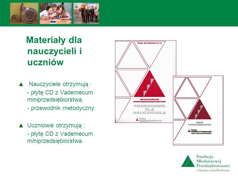 Materiały dla nauczycieli i uczniów Nauczyciele otrzymują : - płytę CD z Vademecum miniprzedsiębiorstwa, - przewodnik metodyczny. Uczniowie otrzymują
