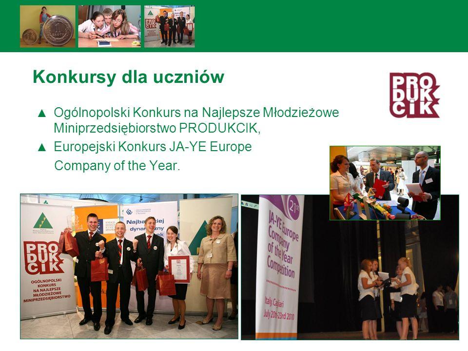 Ogólnopolski Konkurs na Najlepsze Młodzieżowe Miniprzedsiębiorstwo PRODUKCIK, Europejski Konkurs JA-YE Europe Company of the Year. Konkursy dla ucznió