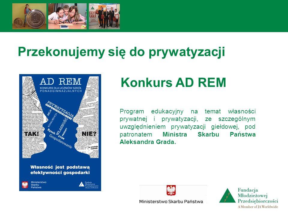 Przekonujemy się do prywatyzacji Konkurs AD REM Program edukacyjny na temat własności prywatnej i prywatyzacji, ze szczególnym uwzględnieniem prywatyz