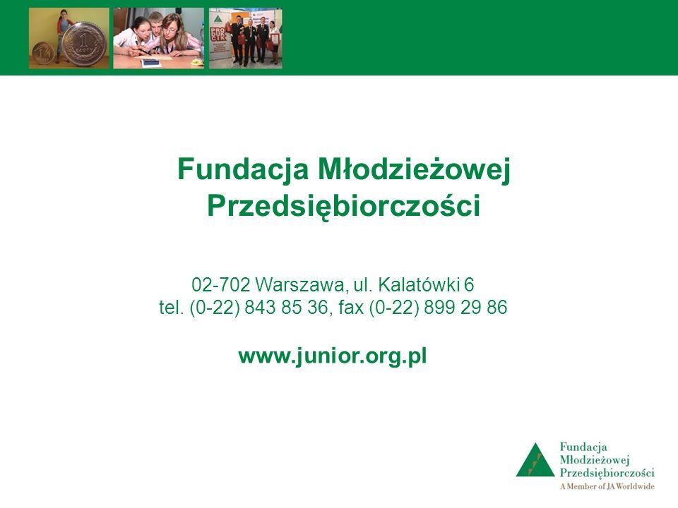 02-702 Warszawa, ul. Kalatówki 6 tel. (0-22) 843 85 36, fax (0-22) 899 29 86 www.junior.org.pl Fundacja Młodzieżowej Przedsiębiorczości