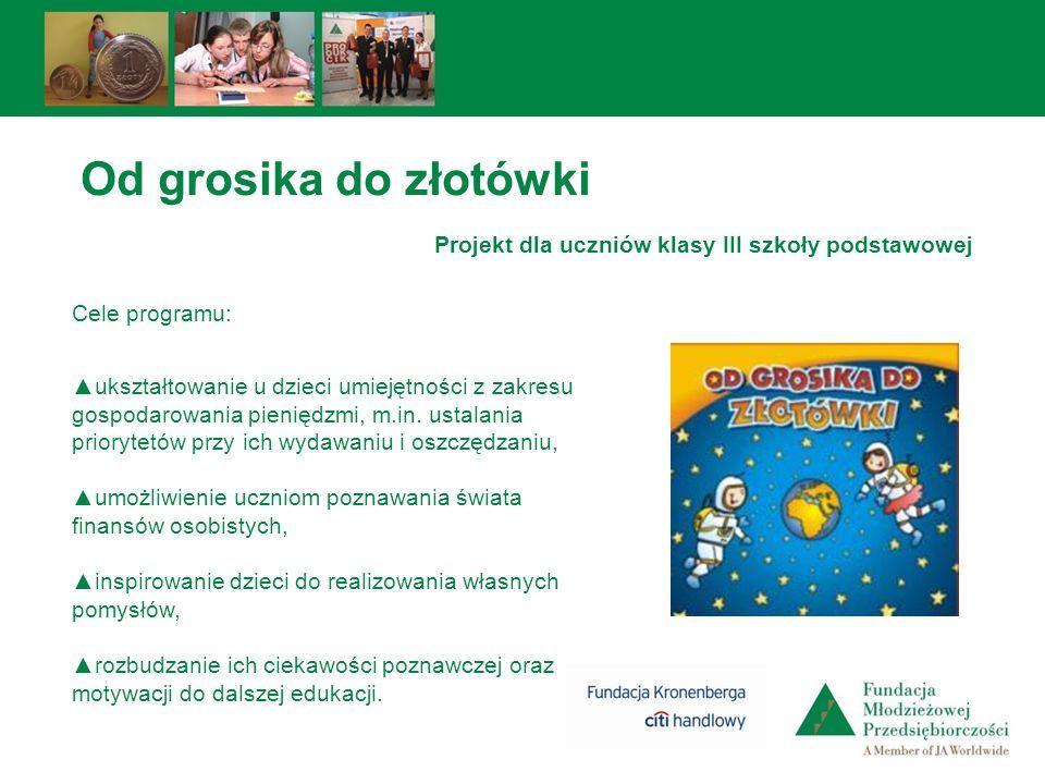Od grosika do złotówki Projekt dla uczniów klasy III szkoły podstawowej Cele programu: ukształtowanie u dzieci umiejętności z zakresu gospodarowania p