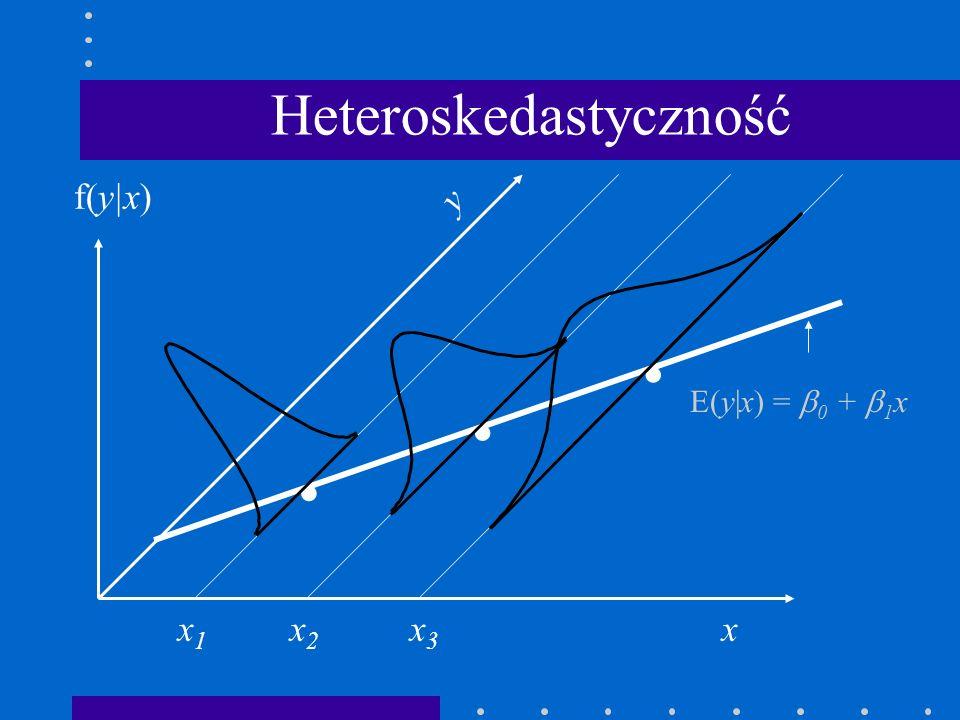 . xx1x1 x2x2 y f(y|x) Heteroskedastyczność x3x3.. E(y|x) = 0 + 1 x