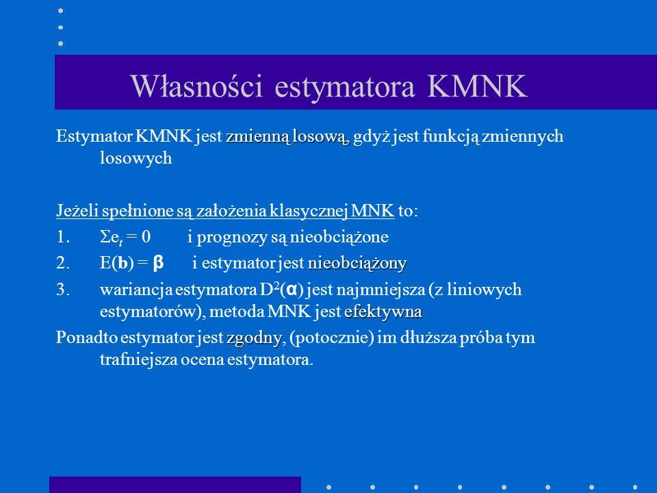 Własności estymatora KMNK zmienną losową, Estymator KMNK jest zmienną losową, gdyż jest funkcją zmiennych losowych Jeżeli spełnione są założenia klasy