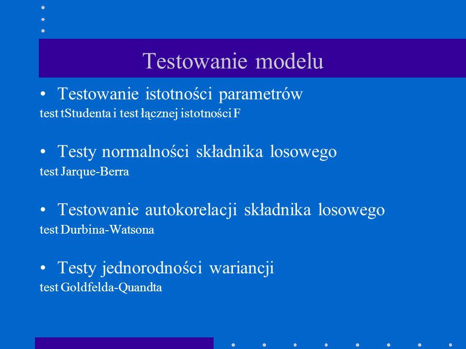 Testowanie modelu Testowanie istotności parametrów test tStudenta i test łącznej istotności F Testy normalności składnika losowego test Jarque-Berra T