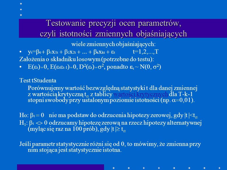 Testowanie precyzji ocen parametrów, czyli istotności zmiennych objaśniających wiele zmiennych objaśniających: y t = 0 1 x 1t 2 x 2t k x kt t t=1,2,..