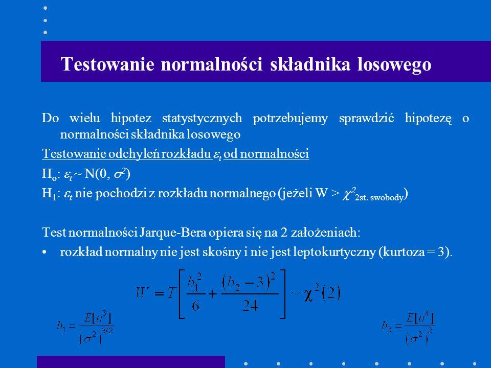 Testowanie normalności składnika losowego Do wielu hipotez statystycznych potrzebujemy sprawdzić hipotezę o normalności składnika losowego Testowanie