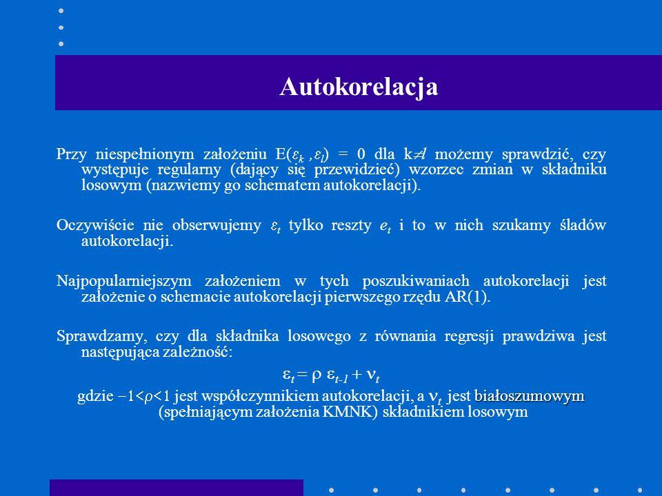Autokorelacja Przy niespełnionym założeniu E( k, l ) = 0 dla k l możemy sprawdzić, czy występuje regularny (dający się przewidzieć) wzorzec zmian w sk