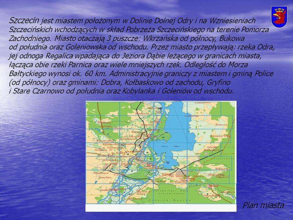 Szczecin jest miastem położonym w Dolinie Dolnej Odry i na Wzniesieniach Szczecińskich wchodzących w skład Pobrzeża Szczecińskiego na terenie Pomorza Zachodniego.