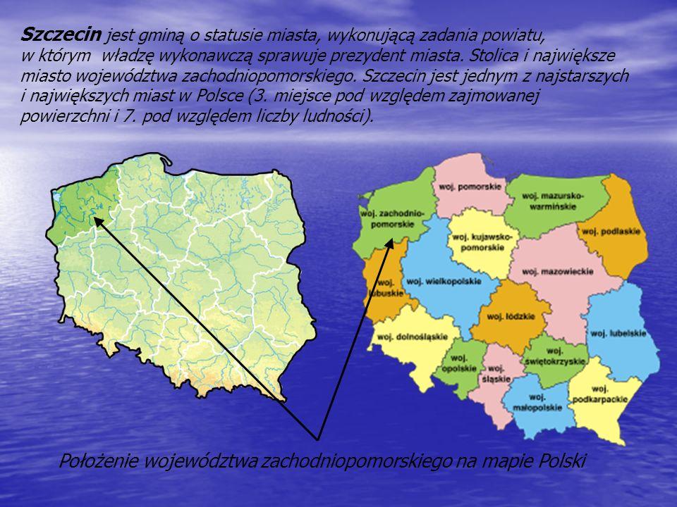 Szczecin jest gminą o statusie miasta, wykonującą zadania powiatu, w którym władzę wykonawczą sprawuje prezydent miasta.